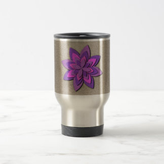 Purple and Pink Paper Flower Stainless Steel Travel Mug