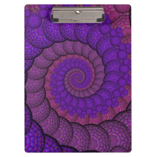 Purple and Pink Peacock Feather Fractal Clipboard