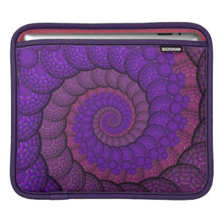 Purple and Pink Peacock Feather Fractal iPad Sleeve