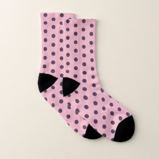 Purple And Pink Polka Dots Pattern Socks 1