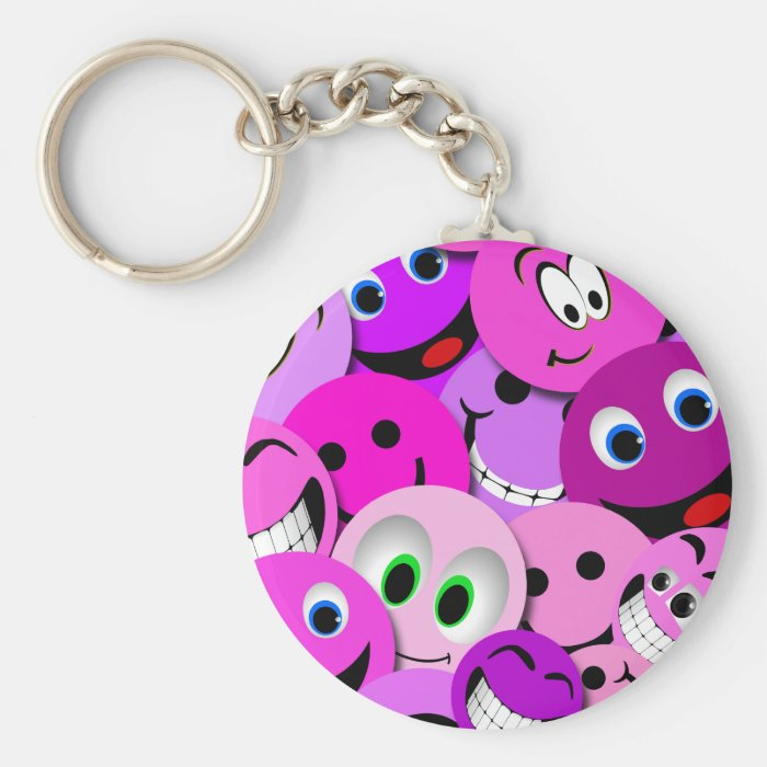 PURPLE AND PINK SMILEY FACES COLLAGE BASIC ROUND BUTTON KEY RING