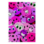 PURPLE AND PINK SMILEY FACES COLLAGE POSTER
