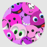 PURPLE AND PINK SMILEY FACES COLLAGE ROUND STICKER