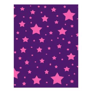 Purple and pink stars flyer design