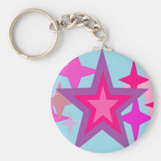Purple And Pink Stars Key Chain