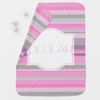 Purple and Pink Striped baby girls blanket Receiving Blankets