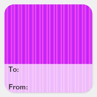 Purple and Pink Stripey Hippie Pattern Square Sticker