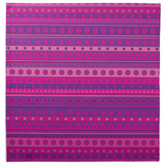 Purple and Pink Stripy Stars and Spots Pattern Cloth Napkins
