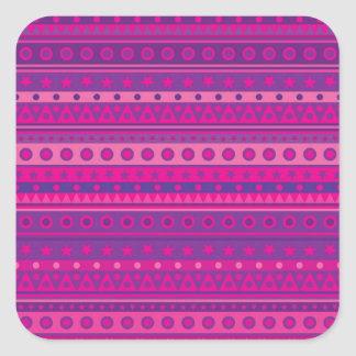 Purple and Pink Stripy Stars and Spots Pattern Square Stickers