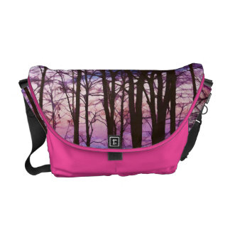 Purple And Pink Sunset Behind the Trees Bag Courier Bags