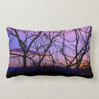 Purple and Pink Sunset Through Tree Silhouette Lumbar Pillow