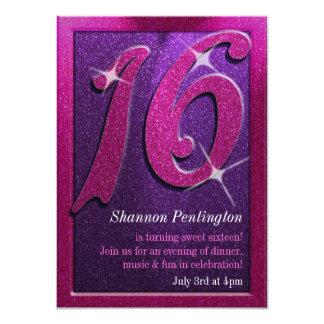 "Purple and Pink Sweet Sixteen Birthday Invitations 4.5"" X 6.25"" Invitation Card"