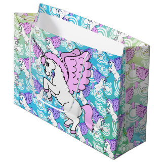 Purple and Pink Unicorn Pattern Large Gift Bag