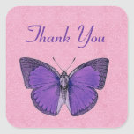 Purple and Pink Vintage Butterfly Thank You V19 Sticker