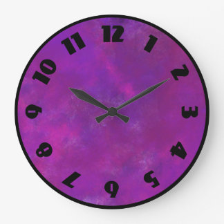 Purple and Pink Watercolor Abstract Texture Large Clock