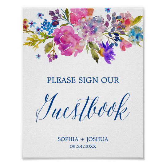 Purple and Pink Watercolor Flowers Guestbook Sign