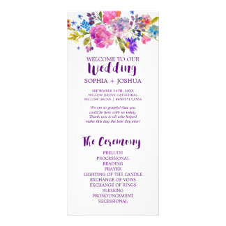 Purple and Pink Watercolor Flowers Wedding Program Rack Card