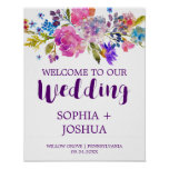 Purple and Pink Watercolor Flowers Wedding Welcome Poster