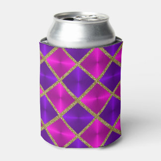 Purple and Pink with Gold Squares Can Cooler