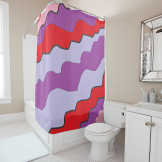 Purple and Red Abstract Modern Shower Curtain