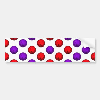 Purple and Red Basketball Pattern Bumper Sticker