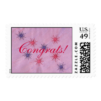 Purple and red flowers Congrats!  postage stamps