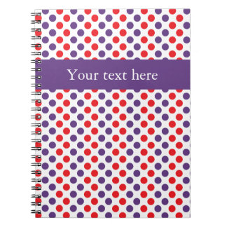 Purple and Red Polka Dots Spiral Notebook