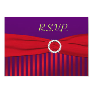 Purple and Red Striped Reply Card