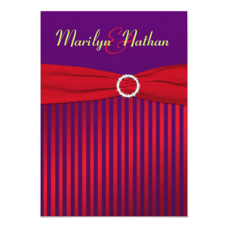 Purple and Red Stripes with Green Wedding Invite