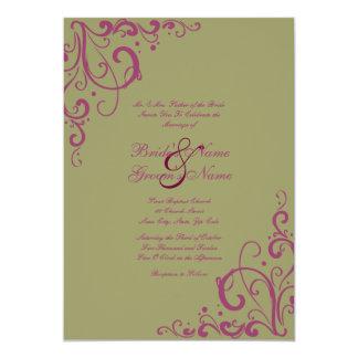 Purple and Sage Flourish Wedding Invitation