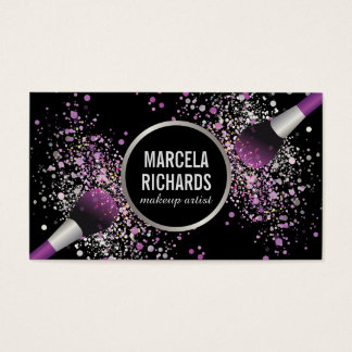Purple and Silver Blush Confetti Makeup Artist Business Card