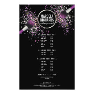 Purple and Silver Blush Confetti Makeup Artist Flyer