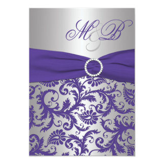 Purple and Silver Damask Monogrammed Invitation