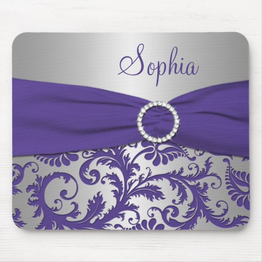 Purple and Silver Damask Mousepad