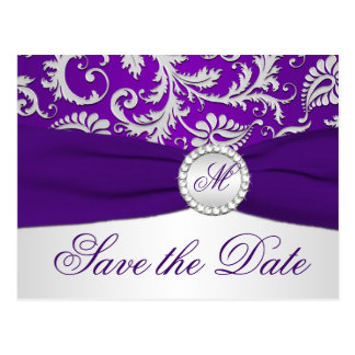 Purple and Silver Damask Save the Date Card Postcards