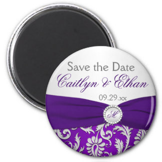 Purple and Silver Damask Save the Date Magnet