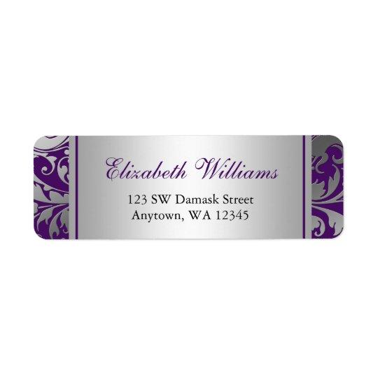 Purple and Silver Damask Swirls Return Address