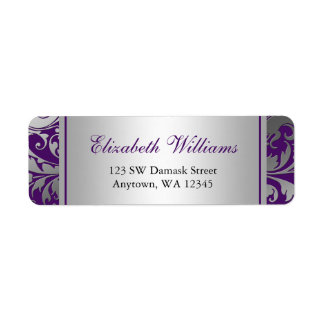 Purple and Silver Damask Swirls Return Address Return Address Label