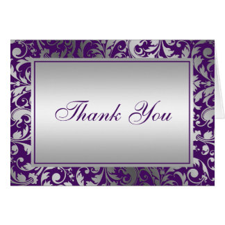 Purple and Silver Damask Swirls Thank You Note Card