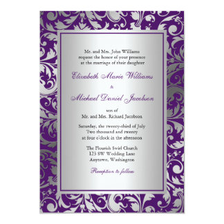 Purple and Silver Damask Swirls Wedding 13 Cm X 18 Cm Invitation Card