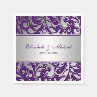 Purple and Silver Damask Swirls Wedding Disposable Serviette