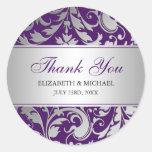 Purple and Silver Damask Swirls Wedding Thank You Round Sticker