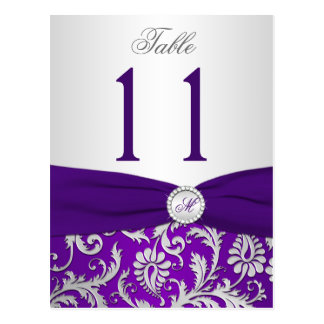Purple and Silver Damask Table Number Card Post Cards