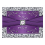 Purple and Silver Floral Save the Date Card Post Cards
