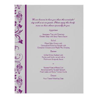 Purple and Silver  Floral Scroll Wedding Menu 21.5 Cm X 28 Cm Flyer