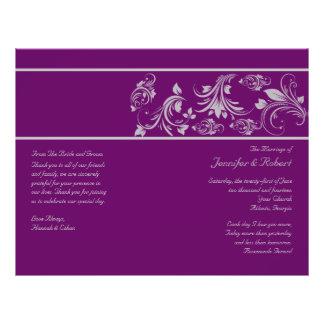 Purple and Silver Floral Scroll Wedding Program 21.5 Cm X 28 Cm Flyer