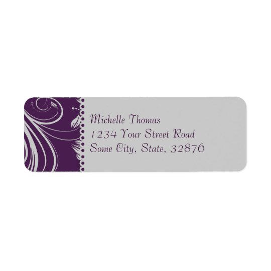 Purple and Silver Floral Swirls Wedding Address