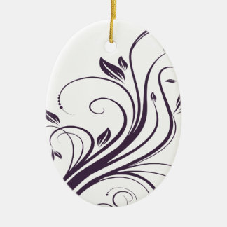 Purple and Silver Floral Swirls Wedding Christmas Ornament