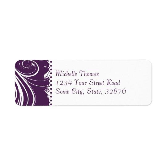 Purple and Silver Floral Swirls Wedding Return Address Label
