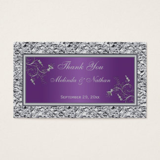 Purple and Silver Floral Wedding Favor Tag